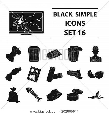 Trash and garbage set icons in black design. Big collection of trash and garbage vector symbol stock illustration