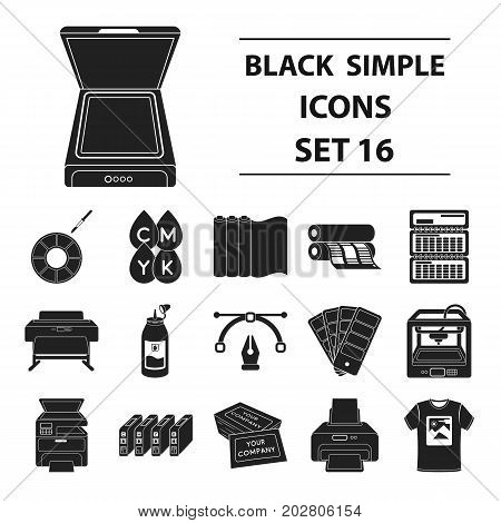 Typography set icons in black style. Big collection typography vector symbol stock