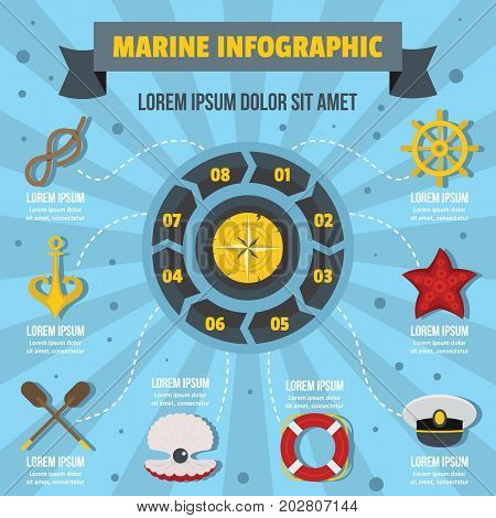 Marine infographic banner concept. Flat illustration of marine infographic vector poster concept for web