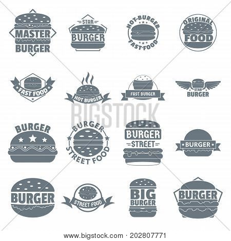 Burger logo icons set. Simple illustration of 16 burger logo vector icons for web
