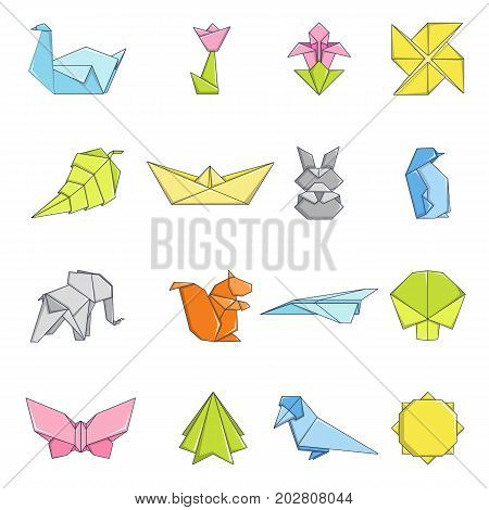 Origami icons set. Carrtoon illustration of 16 origami vector icons for web