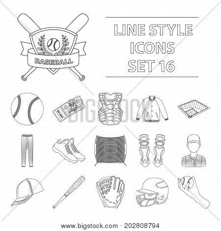 Ball, helmet, bat, uniform and other baseball attributes. Baseball set collection icons in outline style vector symbol stock illustration .