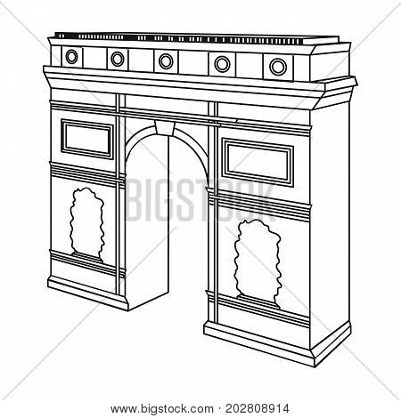 Arc de Triomphe in Paris. Arch Building single icon in outline style vector symbol stock illustration .