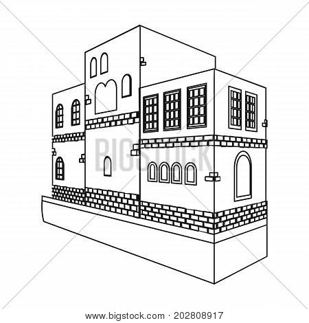 Typical Scandinavian building. Architectural construction single icon in outline style vector symbol stock illustration .