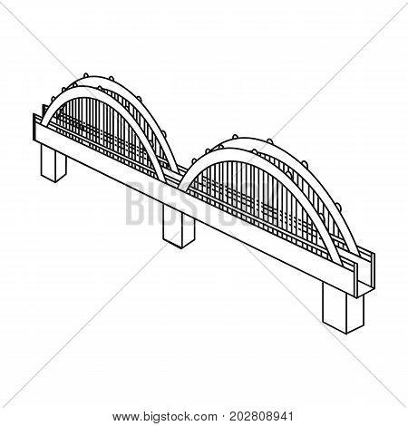 Arched bridge construction. Bridge single icon in outline style vector symbol stock illustration .