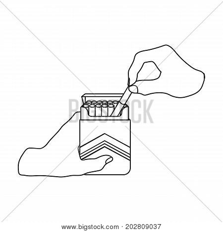Extraction of the cigarette from the pack. A pack of cigarettes single icon in outline style vector symbol stock illustration .