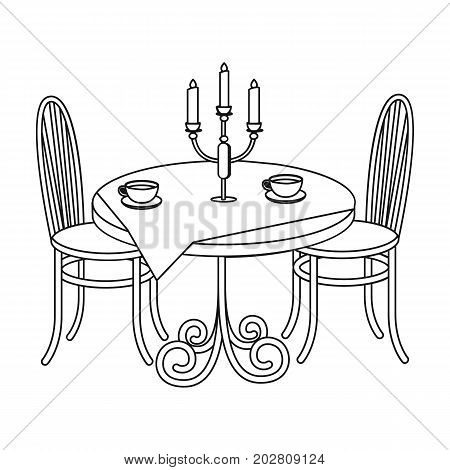 Served table in the restaurant. Furniture single icon in outline style Isometric vector symbol stock illustration .