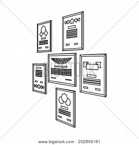 Certificate, diploma and license in a frame on the office wall. Office and interior single icon in outline style Isometric vector symbol stock illustration .
