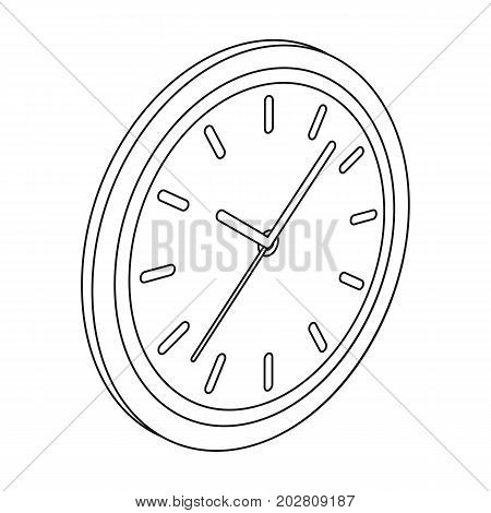 Round wall clock. Office clock single icon in outline style Isometric vector symbol stock illustration .