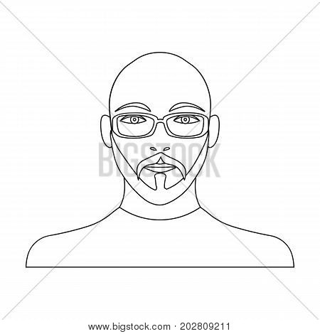 The face of a bald man with glasses, with a beard and mustache. The face of a man single icon in outline style vector symbol stock illustration .