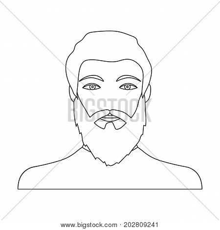 The face of a man with a beard and mustache. Face and appearance single icon in outline style vector symbol stock illustration .