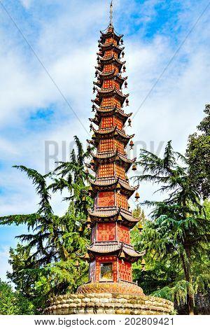 Chengdu China - October 29 2016: Thousand Buddha Pagoda (Qianfo Ta) at Wenshu monastery. Thousand Buddha Pagodas is a Buddhist pagoda and has 22 meters high.