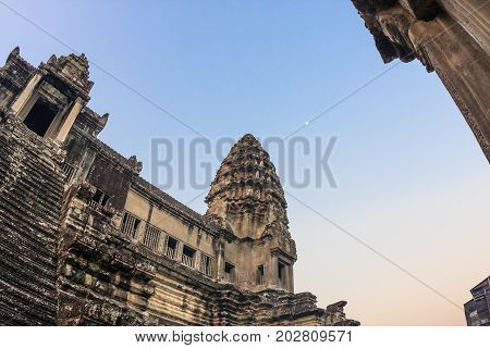 Stairs leading to upper galleries and towers of main Temple Mountain of ancient temple complex Angkor Wat in Siem Reap, Cambodia. Angkor Angkor Wat is the largest religious monument in the world.