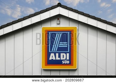 LINDEN GERMANY JULY 2017: ALDI (south)supermarket chain sign. ALDI (south) is a German global discount supermarket chain based in Mülheim an der Ruhr