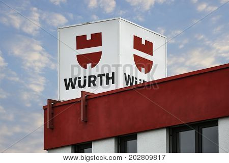 LINDEN GERMANY JULY 2017: WÜRTH world market leader company trading in assembly and fastening materials based in Künzelsau-Gaisbach Baden-Wuerttemberg