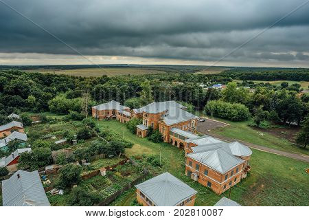 Aerial view to abandoned former Nechaev's mansion in Polibino village in Lipetsk region