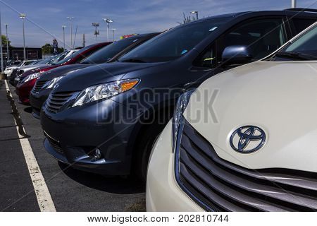 Indianapolis - Circa September 2017: Local Toyota Car and SUV Dealership. Toyota is a Japanese Automaker Headquartered in Toyota Aichi Japan VI