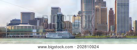 DETROIT, MI - APRIL 8, 2017: Panoramic view of downtown Detroit with office buildings overlooking the Financial District