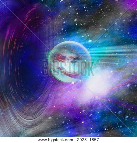 Black hole absorbing the abstract planet. Unknown celestial body flying through the universe. 3d illustration