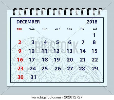Monthly calendar December year 2018 on mandala background. Layout a5 horizontal page of spiral calendar year 2018. English language. Week starts on Sunday. eps 10.