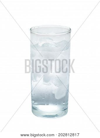 isolated glass of pure water with ice. object beverage.