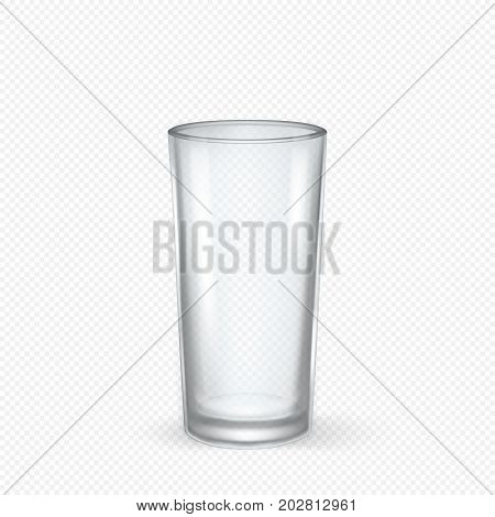 Vector realistic transparent empty glass closeup isolated on transparent background. Design template for advertise, branding, mockup. EPS10 illustration.