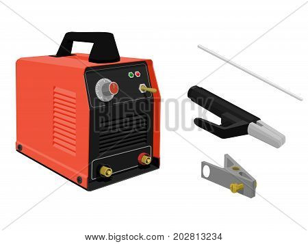 set of Electrical welding equipment on transparent background