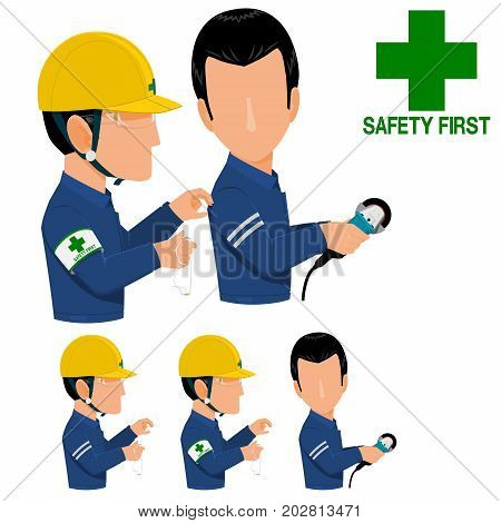Safety officer is asking the welder to wearing safety glasses during grinding process poster