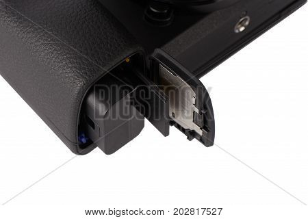 Battery And Sdxc Memory Card In A Camera Slot