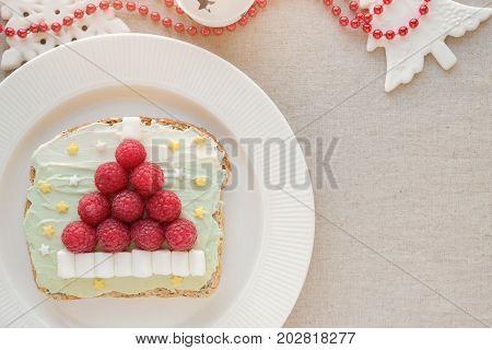 Santa hat unicorn creamcheese toast breakfast fun Christmas food art for kids