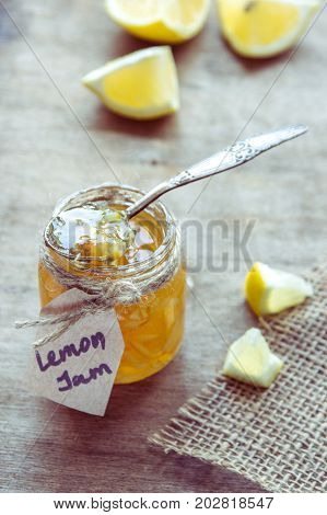 Homemade Lemon Jam In Glass Jar. Organic Fresh Yellow Jam