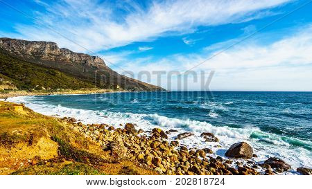 The shoreline near Llandudno along the Twelve Apostles which is part of Table Mountain near Cape Town South Africa