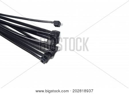 The Head Of Black Cables Tie On White Background Isolate
