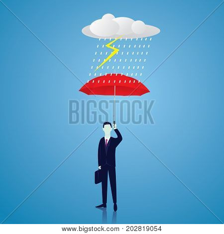 Vector illustration. Insurance protection concept. Businessman and umbrella risk threat preparation protecting weath future life