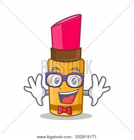 Geek lipstick character cartoon style vector illustration
