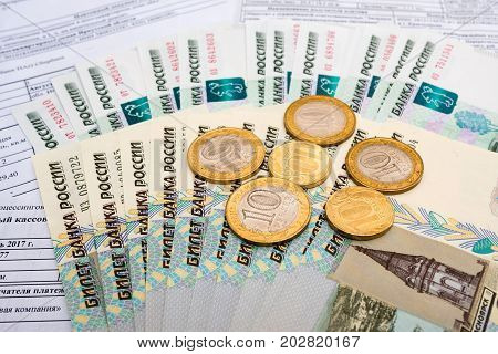 Receipt for payment of utilities and Russian money