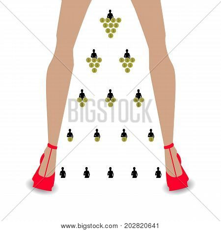 financial pyramid concept. business mlm. network marketing. silhouette of a girl and coins. women's legs in red shoes
