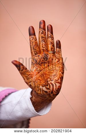 Morocco Girl show Henna Hands.North Africa Morocco Marrakech.