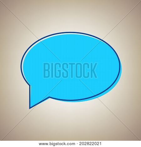Speech bubble icon. Vector. Sky blue icon with defected blue contour on beige background.