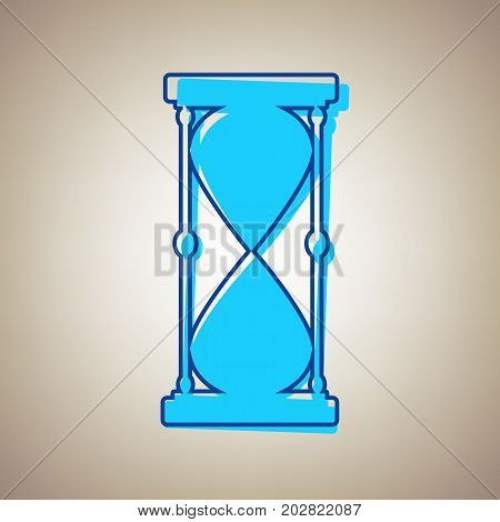 Hourglass sign illustration. Vector. Sky blue icon with defected blue contour on beige background.