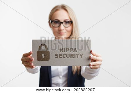 Business, Technology, Internet And Network Concept. Young Girl Holding A Sign With An Inscription Hi