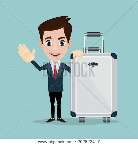 Man with bag over background. Stock Vector illustration.