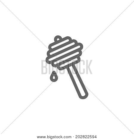 Simple honey dipper line icon. Symbol and sign vector illustration design. Editable Stroke. Isolated on white background