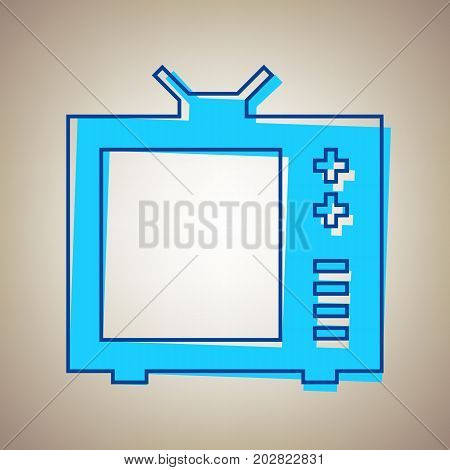 TV sign illustration. Vector. Sky blue icon with defected blue contour on beige background.