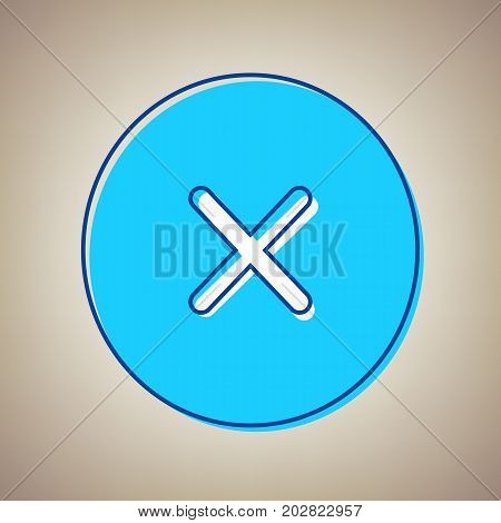 Cross sign illustration. Vector. Sky blue icon with defected blue contour on beige background.