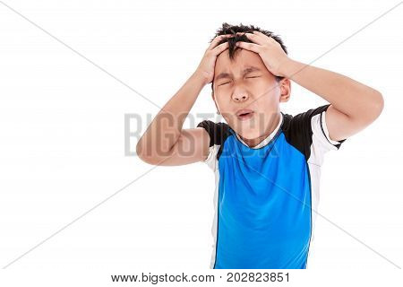 Asian Boy Have A Headache. Isolated On White Background.
