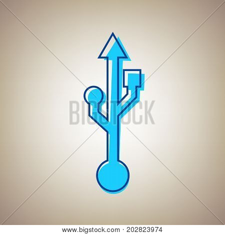 USB sign illustration. Vector. Sky blue icon with defected blue contour on beige background.
