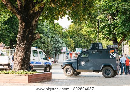 Istanbul, July 15, 2017: Military vehicle and police car in Sultanahmet Square. Strengthening of security measures during the high tourist season. Protection of the population against crime.
