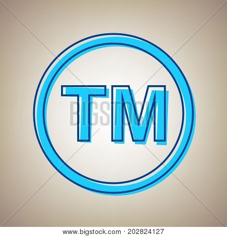 Trade mark sign. Vector. Sky blue icon with defected blue contour on beige background.