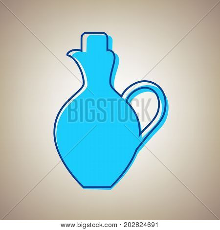 Amphora sign illustration. Vector. Sky blue icon with defected blue contour on beige background.